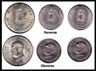 1869-1948 10 Rupee India Mahatma Gandhi .800 SILVER COIN ..PLUS 2 ONE RUPEE COIN