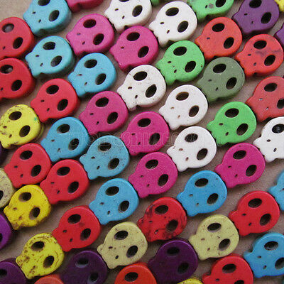 100pc 13*15mm Howlite Turquoise Skull Head Beads Wholesale Mix colour PJ024