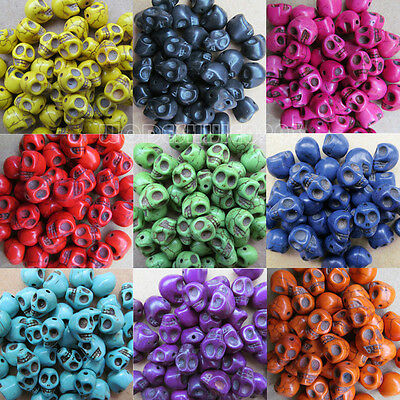 200pc 12*10mm Howlite Turquoise Carved Skull Spacer Beads Wholesale PJ015