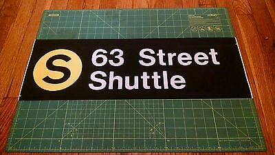 NYC Subway BMT/IND Side Route Roll sign piece - S 63 Street Shuttle