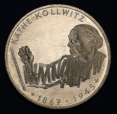 1992 G  Germany 10 Mark KM# 178  Kathe Kollwitz  Silver Coin