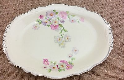 "Homer Laughlin Fluffy Virginia Rose Oval 9x11.5"" Serving Platter ~ Platinum Trim"