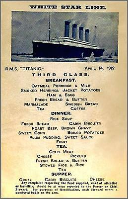 "5"" x 7""  Reprint Of Titanic's 3rd Class Dining Salon Menu On Night Of Sinking"