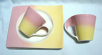 2 Villeroy & Boch pink Yellow Expresso Coffee Mugs NEW WAVE + plates
