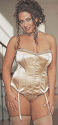 Beaded Satin Corset with Thong Garters Stockings - Size 18