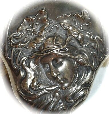 STUNNING 1903 Antique Art Nouveau STERLING UNGER BROS Goddess Flowers HAIR BRUSH