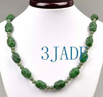 Hand Carved Green Nephrite Jade 18 Arhat Buddha 18mm Beads Necklace, cool!