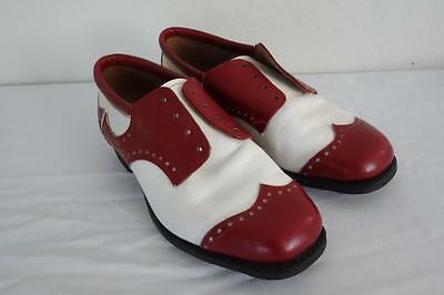 Vintage Rockabilly Leather Red & White Ladies Shoes 7D