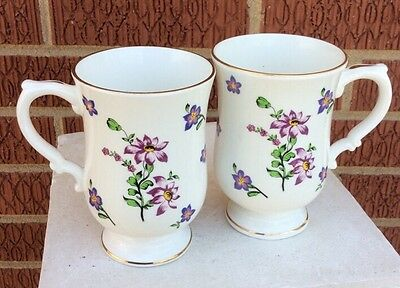 Pair  Bone China Mugs ~ Scattered Violets ~ By Royal Victoria Made In England