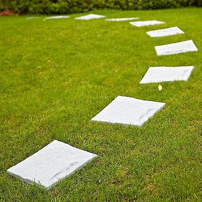 8 x Garden Effect Plastic Patio Paving Slabs Stepping Tile Stone Path Lawn Grey