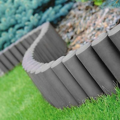 8 x Palisade Lawn Edge Border Garden Path Patio Edging Fencing Plastic Grey