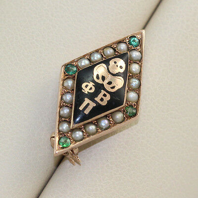 Vintage Phi Beta Pi Medical Fraternity Pin with Seed Pearls and Emeralds
