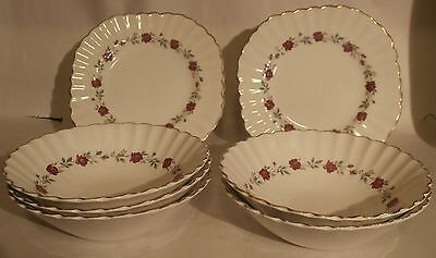 J & G Meakin England Classic White Rose Marie 5 Cereal Bowls & 2 Square Plates