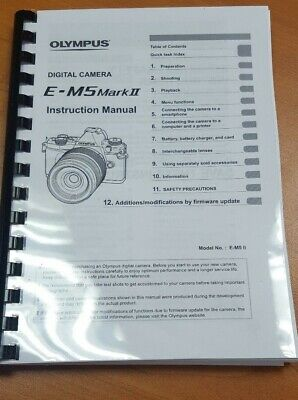 Olympus E-M5 Mark Ii Digital Camera Printed Instruction Guide 184 Pages (A5)