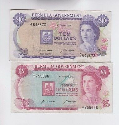 Bermuda Paper Money 2 old notes fine and better