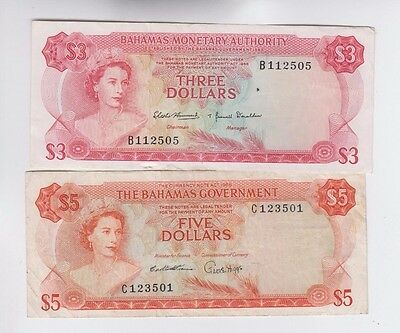 Bahamas Paper Money two old notes fine+