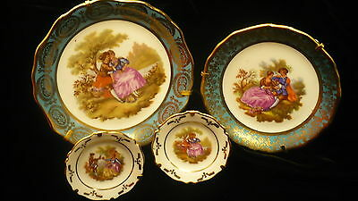 "Limoges France porcelain miniature plates 4""  - 3.25"" and 1.25"" four small plate"