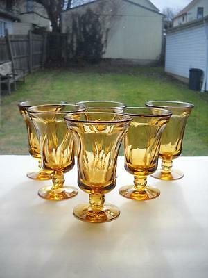 "Six Fostoria Jamestown Amber Ice Tea Glasses Standing 6"" Tall x 4-1/8"" At Top"