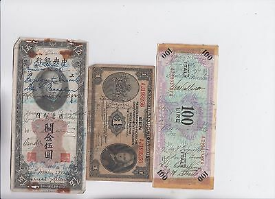 World Paper Money Collection  6 old notes  low grade and up Some autographed