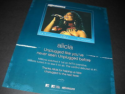 ALICIA KEYS Unplugged Like You've Never Seen... 2005 PROMO DISPLAY AD mint cond.