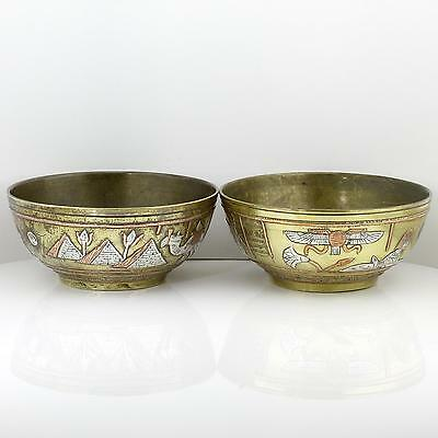 Pair Art Deco Egyptian Silver Copper Inlay Cairo Ware Bowls Pyramid Horus Sphinx