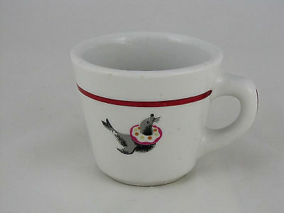 """Sterling China Restaurant Ware Cup w Seal Decoration & Maroon Ring, 3"""" tall"""