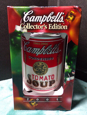 "Campbell's Christmas ~ 2005 ~ Tomato Soup Can Ornament ~ Red & White ~ 3.5"" New"
