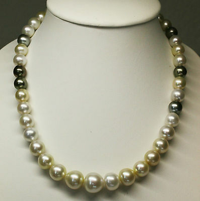 SOUTH SEA 16.4mm!! PEARL NECKLACE 100% UNTREATED COLOUR +18ct GOLD CLASP +CERT