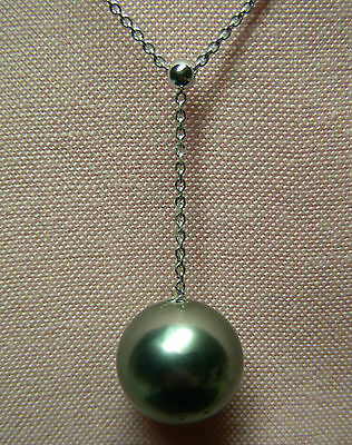 TAHITI 14.3mm!! BLACK PEARL 100% UNTREATED+18 ct WHITE GOLD NECKLACE SLIDER