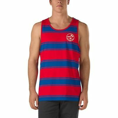 NEW VANS OFF THE WALL BIDWELL TANK TOP MEN'S BLUE RED STRIPED NWT L Large