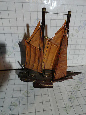 antique artisan solid hard wood wooden brass SAILING SHIP Cherbourg YACHT Boat