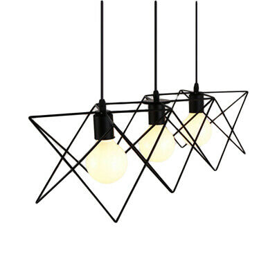 Vintage Pendant Lamp - 3D Wire   w/ Frosted Bulb 40W   Industrial Light Design