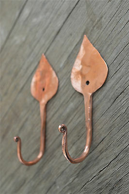 A pair of beautiful handmade copper Arts & Crafts style tear drop hooks hook
