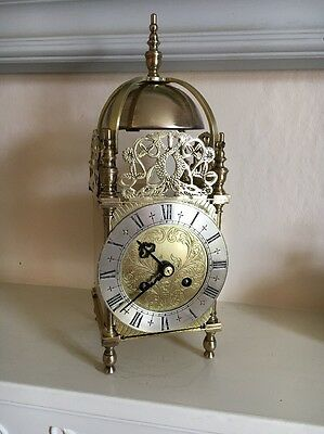 Large Antique Brass Lantern Clock FRENCH JAPY FRERES IN WORKING ORDER