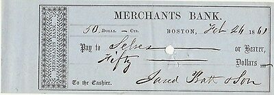 1861 Civil War Check   Merchants Bank, Boston, Mass
