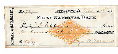 Antique Check 1879 First National Bank, Alliance, Ohio  Revenue Stamp