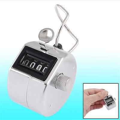 Steel Tally Counter Hand Held Clicker 4 Digit Chrome Palm Golf People Counting ,