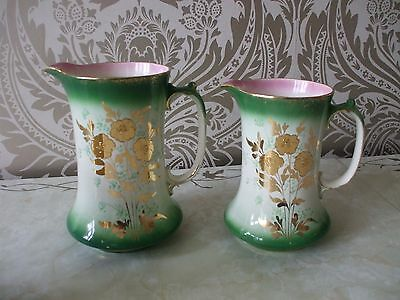 "Vintage Retro Pair of Pottery Graduated Jugs Green Pink Gold 8"" & 7.25"" Tall"