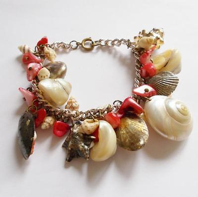 Vintage 40's Genuine Coral & Mother Of Pearl Shell Cluster Beads Charm Bracelet