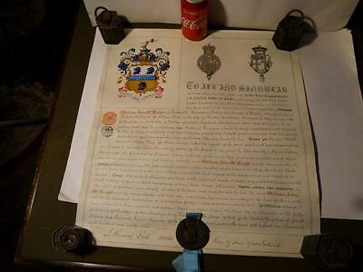 Antique 1887 William John McNeight Palmerston Park ULSTER GRANT OF ARMS Boxed