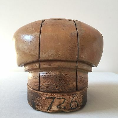 VINTAGE WOOD HAT BLOCK MILLINERY PUZZLE MOLD by MONTREAL WOOD BLOCK