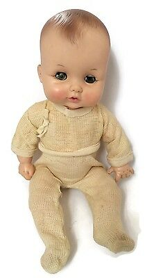 1969 Effanbee Baby Doll Brown Hair Green Sleep Eyes 6569 Yellow One Pc Outfit