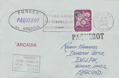 Norfolk Island 4526 - Used in DAKAR, SENEGAL  1968 PAQUEBOT cover to UK