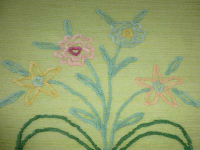 """Vintage CHARTREUSE CHENILLE BEDSPREAD 90"""" x 98"""" Floral Yellow Green"""