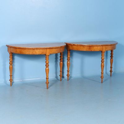 Pair of Antique Demilune Birch Tables from Sweden, circa 1860