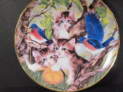 Franklin Mint Sprovach SPINNING A YARN Kittens & Robins   Ltd Ed Plate