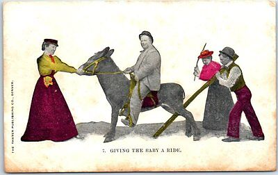"""c1910s DONKEY Postcard """"Giving the Baby a Ride"""" Fat Man on Donkey Thayer Denver"""