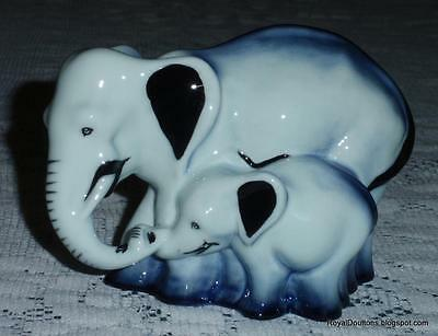 "***ULTRA RARE*** Royal Doulton Blue Flambe ""Elephant And Young"" Figurine HN3548"