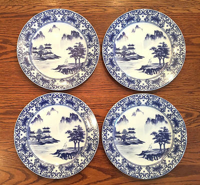 Set of 4 Asian Canton Blue & White Porcelain Dinner Plates Chinese Free Shipping