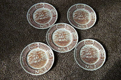 Set of 5 Fair Winds The Friendship of Salem Plates - Alfred Meakin Staffordshire